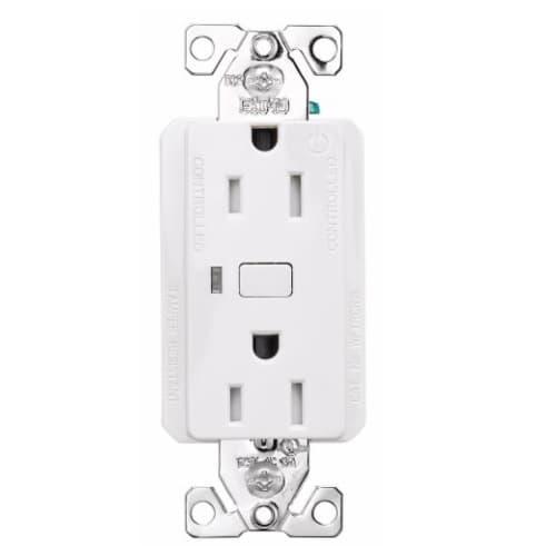 15 Amp Wi-Fi Smart TR Duplex Receptacle, 2-Pole, 3-Wire, 120V, White