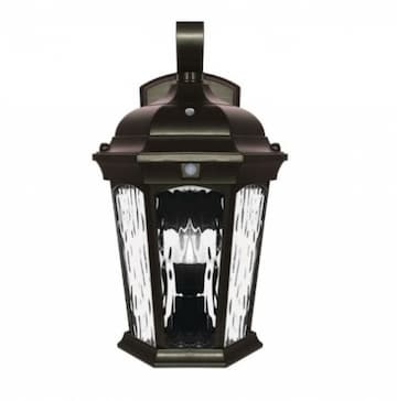 Euri Lighting 12.5W LED Wall Lantern w/ Sensor & Photocell, Water Glass, E12, 1200 lm, 120V, 3000K