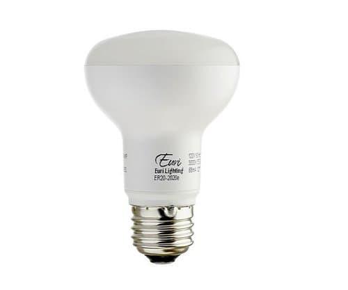 Euri Lighting 7.5W LED R20 Bulb, Dimmable, E26, 500 lm, 120V, 2700K