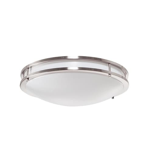 GlobaLux 14-in 17W LED Decorative Ceiling Light, Dimmable, 1200 lm, 120V, 3000K, Nickel Satin