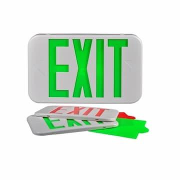 LED Exit Sign w/ Battery Backup, Low Profile, 120V/277V, White