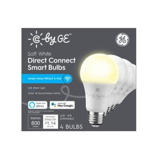GE 9.5W C by GE LED A19 Smart Bulbs, Dimmable, 800 lm, 2700K