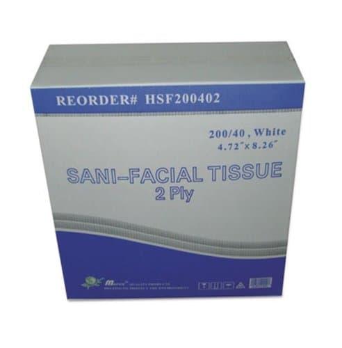 General Supply White, 200 Count Carton of  2-Ply Sani Facial Tissue- 40 Sheets per Box
