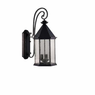 60W Coach Light, 3-Light, Medium, E26, Clear Seeded Glass, Matte Black