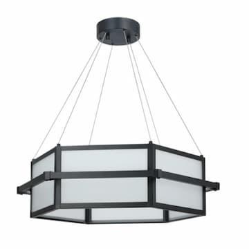 45W Amalfi LED Hex Chandelier, Frosted Glass, Matte Black, 4000K