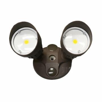 HOMEnhancements 20W LED Double Flood Light, Dimmable, 1400 lm, 3000K, Matte Black