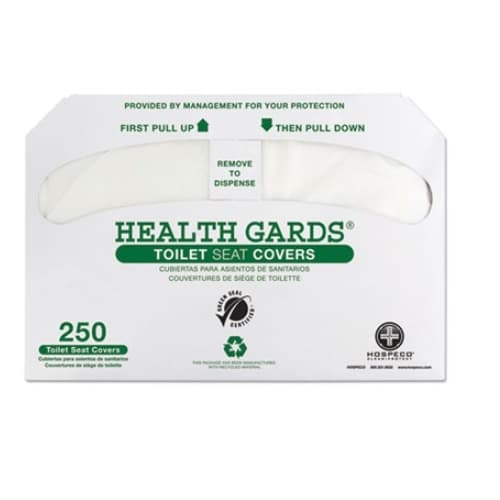 Hospeco Health Gards Recycled Toilet Seat Covers, White