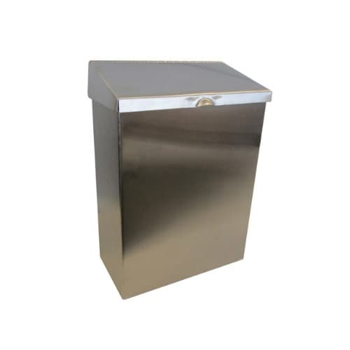 Hospeco Stainless Steel Hinged Lid Convertible Receptacle for Sanitary Napkins