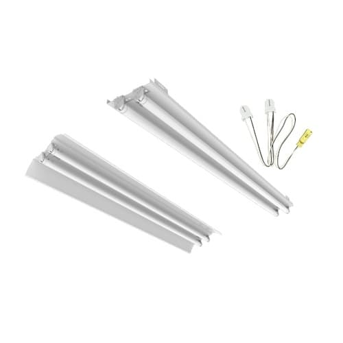 8-ft LED T8 Strip Retrofit Kit, 4-Lamp, Adjustable, White Aluminum