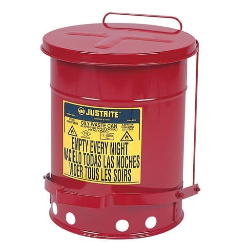 Justrite 6 Gallon 24-gauge Red Oily Waste Can