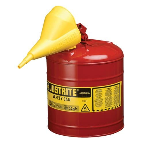 Justrite 5 Gallon Red Type I Safety Can with Funnel
