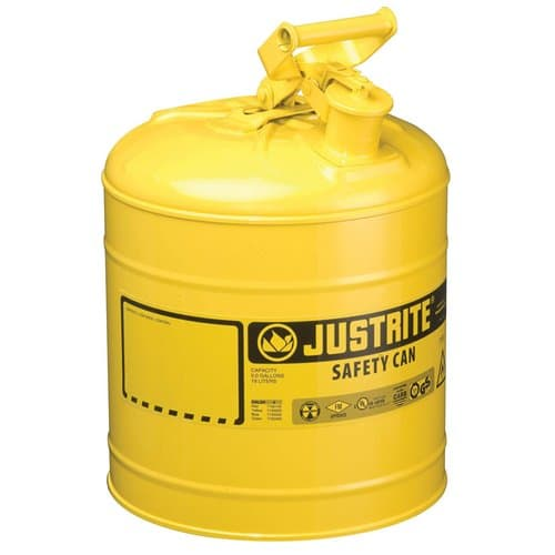 Justrite 5 Gallon Yellow Type I Safety Can