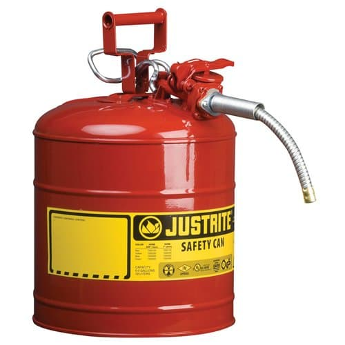 """Justrite 5 Gallon Red Safety Can Type II AccuFlow 5/8"""" Hose"""