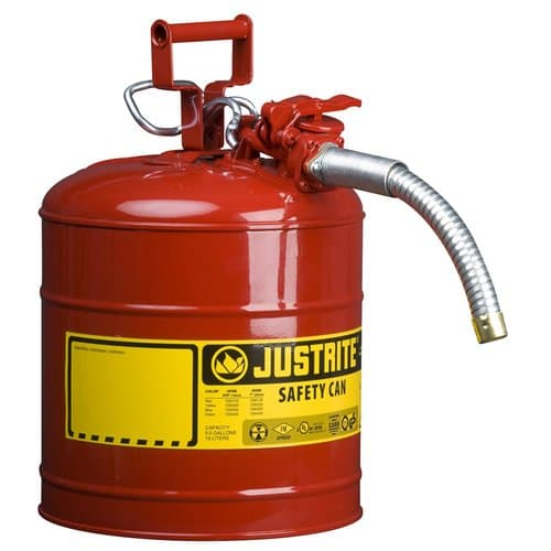 """Justrite 5 Gallon Red Type II Safety Can w/AccuFlow 1"""" Hose"""