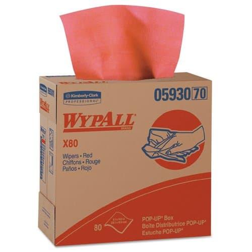 WypAll X80 Towels, Pop-Up Box, Red Hot, 80 per box