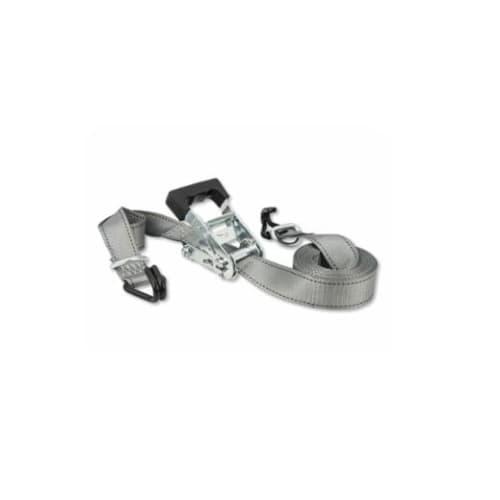 Ratchet Tie-Down Straps w/ Double J Hooks, Silver