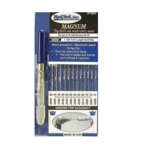 King Tool #52-74 Drill Bit Set w/ Carry Case & Pin Vise, Magnum Tip, 1 Set