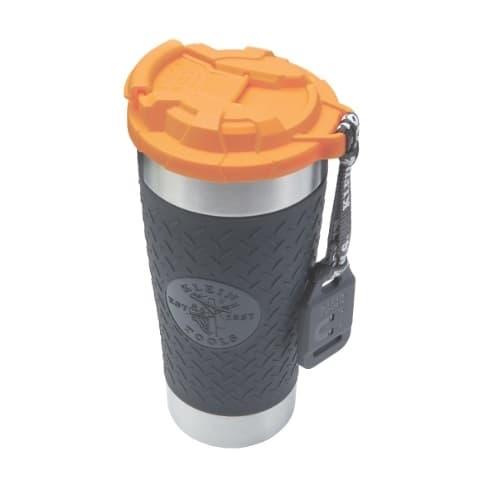 Klein Tools 20 oz. Insulated Tumbler w/ Flip-Top Lid, Black/Orange