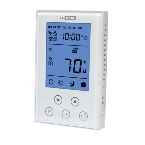 King Electric Electronic Programmable Thermostat, Double Pole, 15 Amp, 120V or 208V/240V, White