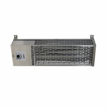 1000W Compact Radiant Utility Heater, 75 Sq Ft, 208V/240V, Stainless Steel