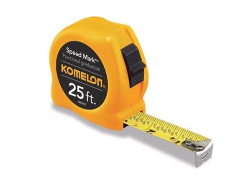 "Komelon 25' x 1""  Yellow Speed Mark Steel Bladed Tape Measure"