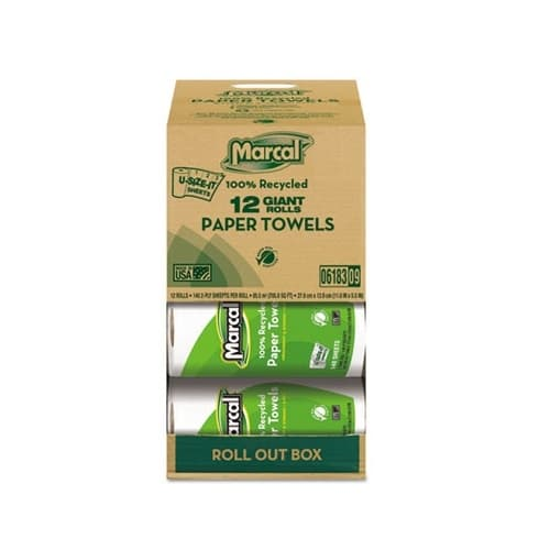 Marcal Roll-Out Brand, Premium Recycled Roll Towels-11 x 5.75