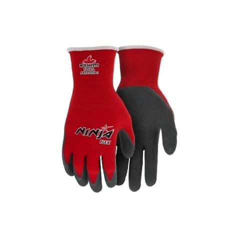 MCR Safety Ninja Flex Nylon Shell Gloves, 15 Gauge, Large, Red & Gray