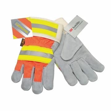 Luminator Leather Palm Gloves, Large, Orange