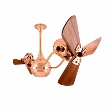 44-in 87W Vent-Bettina Ceiling Fan, AC, 3-Speed, 6-Wood Blades, Polished Copper
