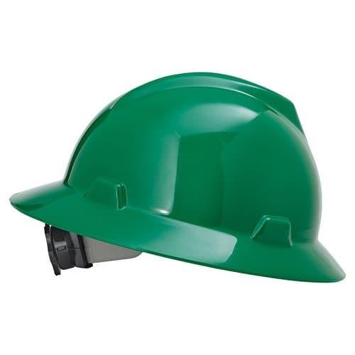 MSA Green Non-Slotted V-Gard Hard Hat