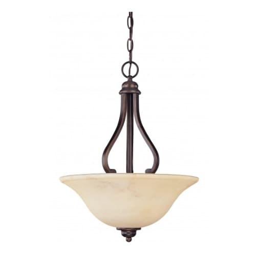 Nuvo 3-Light Hanging Pendant Light Fixture, Copper Espresso, Honey Marble Glass