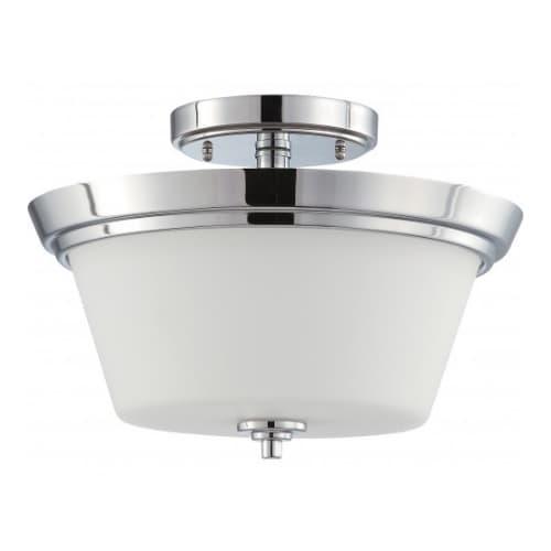 60W Incandecent 2-Light Semi-Flush Mount Fixture, Polished Chrome