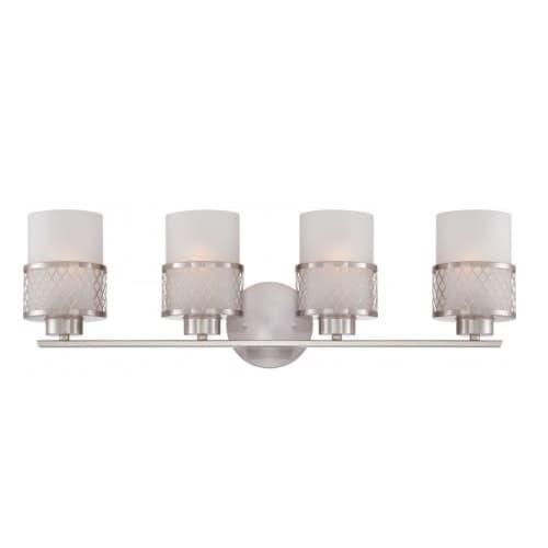 100W 4-Light Vanity Light Fixture, Brushed Nickel