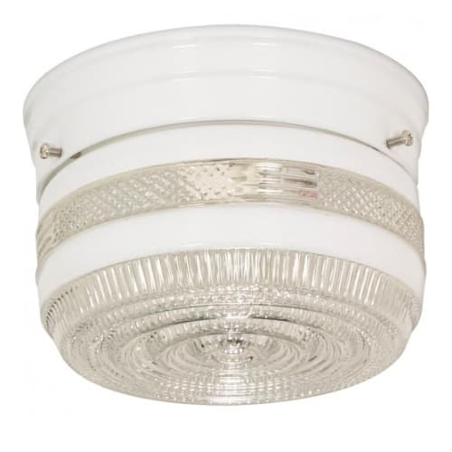 """Nuvo 6"""" Flush Mount Ceiling Light Fixture w/ Crystal and White Drum, White"""