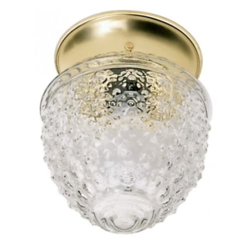 """Nuvo 6"""" Flush Mount Ceiling Light Fixture, Polished Brass, Clear Pineapple Glass"""