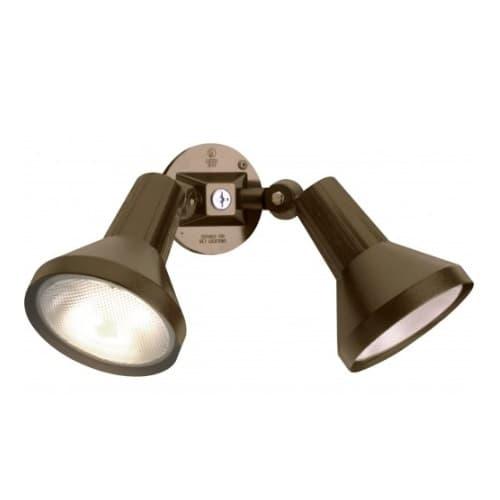 "Nuvo 15"" 2-Light PAR38 Outdoor Security Flood Light w/ Adjustable Swivel, Bronze"