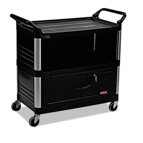 Rubbermaid Black 3-Shelf AV Equiment Cart w/ Lockable Enclosed Shelf