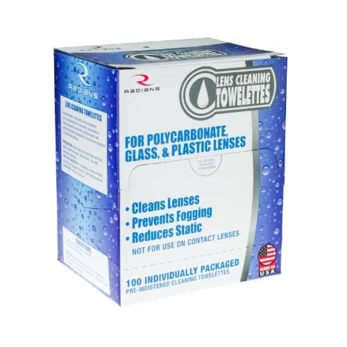Radians Lens Cleaning Towlettes, 100 Cleaning Wipes
