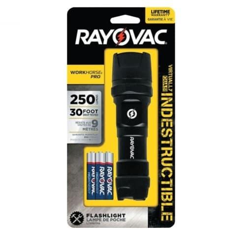Ray-O-Vac LED Indestructible Flashlight, 20-250 lumens, Black