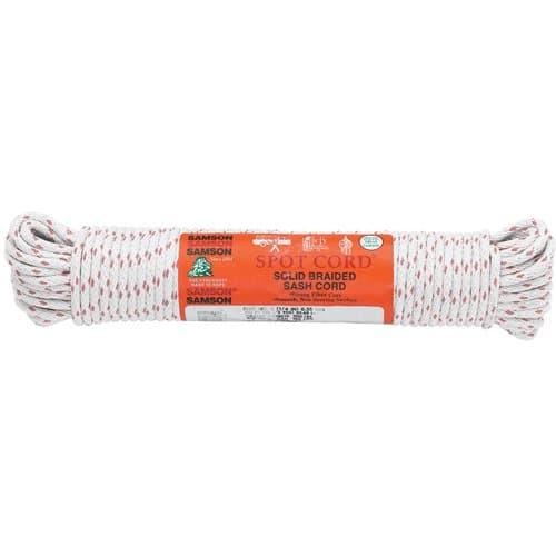 Samson Rope White Solid Braided Cotton Sash Cord