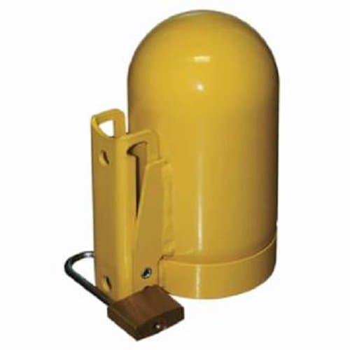 "Saf-T-Cart 3 1/8"" Steel Yellow High Pressure Cylinder Caps"