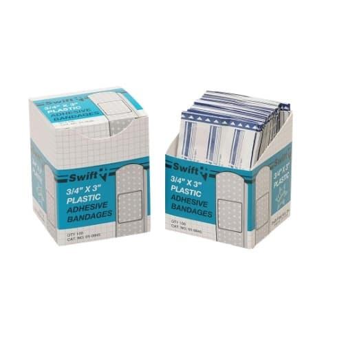"Swift First-Aid 3/4"" X 3"" Plastic Adhesive Bandage Strips"