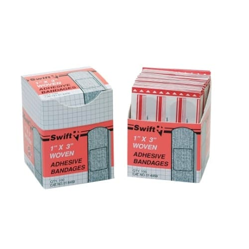 """Swift First-Aid 1"""" X 3"""" Woven Fabric Adhesive Bandage Strips"""