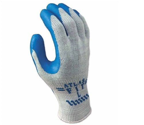 SHOWA Gray/Blue Medium Atlas Fit 300 Rubber-Coated Gloves