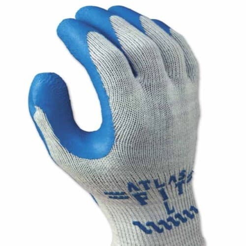 SHOWA 300 Series Rubber-Coated Gloves, X-Large, Blue/Gray