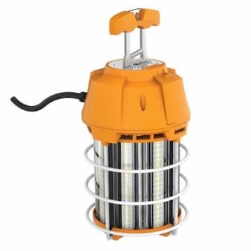 Satco 100W LED Hi-Bay Caged Lamp, 10000 lm, 120V, 5000K, Orange