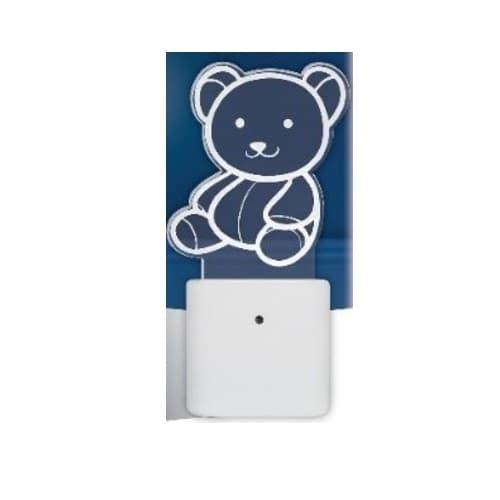 .24W LED Automatic Night Light, 5 lm, 120V, 3000K, Teddy Bear