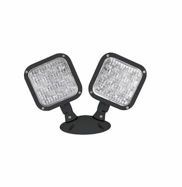 TCP Lighting 1W LED Emergency Light Double Head Remote, Black