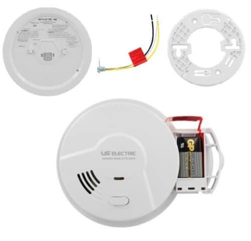 USI Smoke Detector & Fire Alarm w/ Ionization Sensor, Hardwired