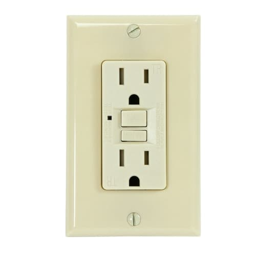 USI Electric 15 Amp GFCI Outlet, Tamper Resistant, Ivory
